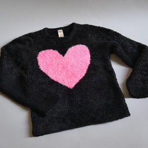 Girls Fuzzy Heart Sweater Black Size 8I